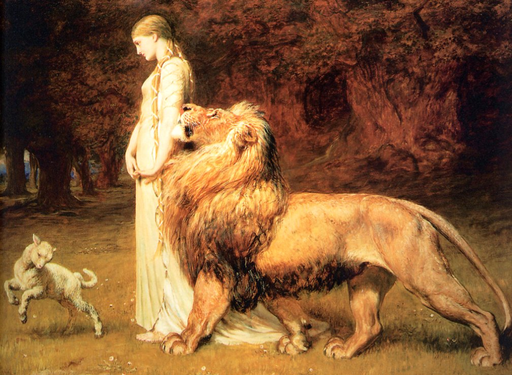 Brighton Riviere. Una and the lion   Art, Moonlight painting, Classic art