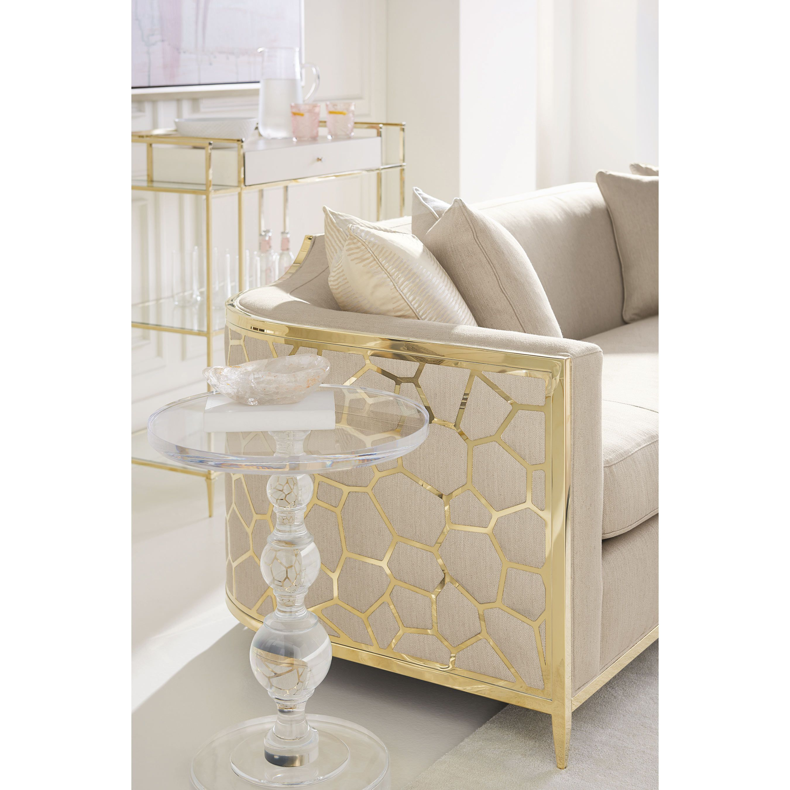 Caracole Ice Breaker Modern Classic Beige Upholstered Gold Metal Wrapped Bench Cushion Sofa In 2020 White Furniture Living Room Living Room Designs Living Room Decor Apartment