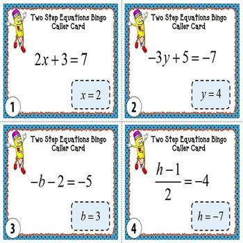 Two-Step Equations BINGO | Equation, Bingo games and Algebra