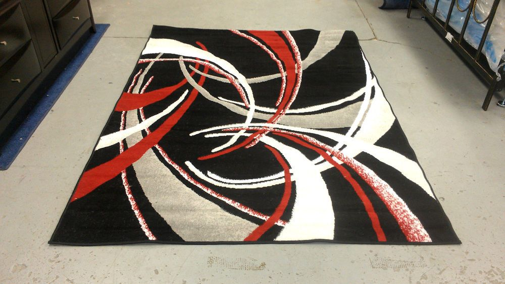 Abstract Contemporary 5x8 Red Black White Gray Area Rug Modern Carpet Rugs Modern Carpet Modern Rugs