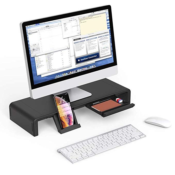 with Drawer and Keyboard Storage Stylish and x Monitor Riser Stand Desk Shelf