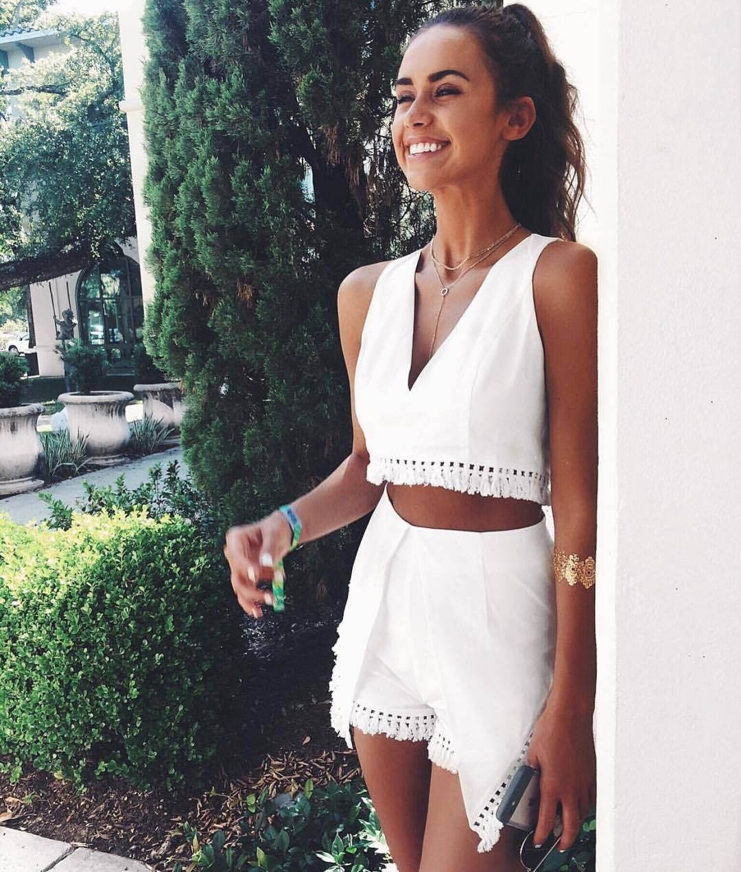 3cc18693dce White tassel two-piece sleeve jumpsuits