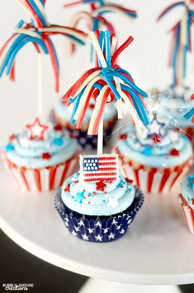Star Spangled Cupcakes with Candy Sparklers and Pop Rocks