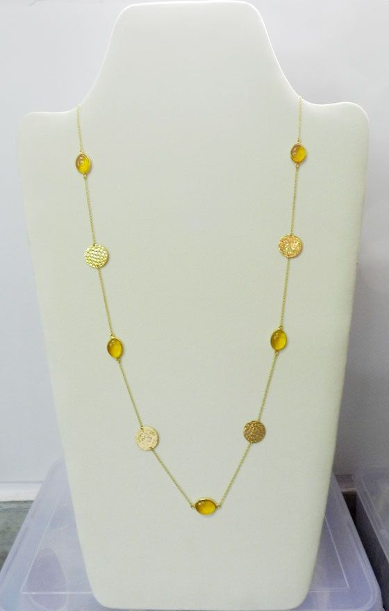 Citrine Hydro Oval gemstone brass 18k gold vermeil bezel primrose Disc necklace