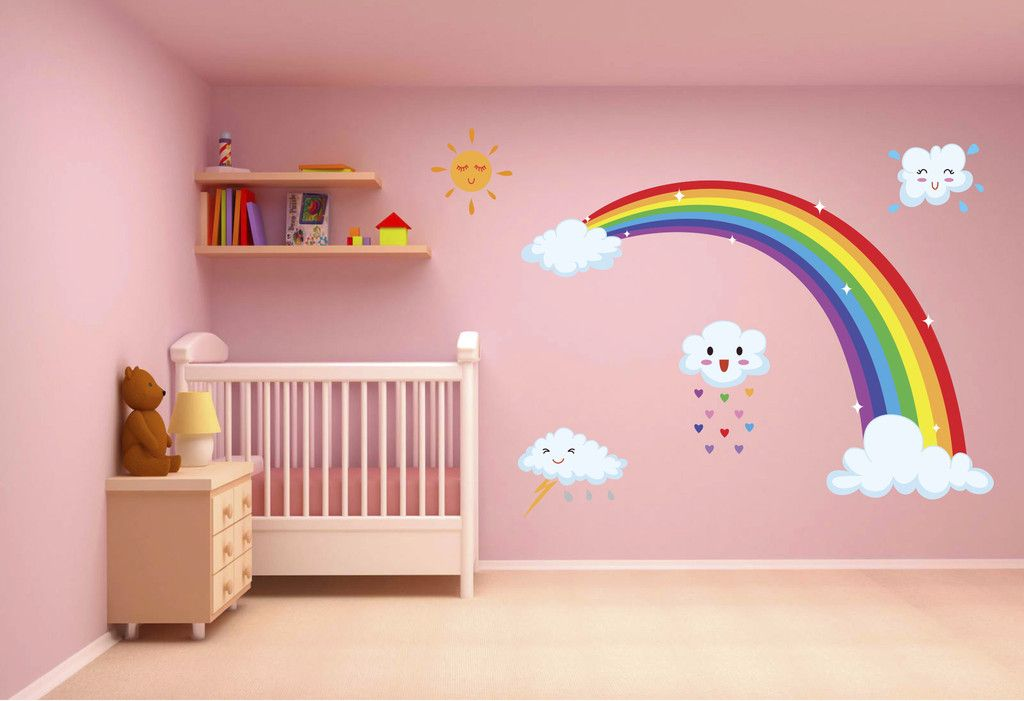 Cute Rainbow With Clouds Wall Decal Room Kids