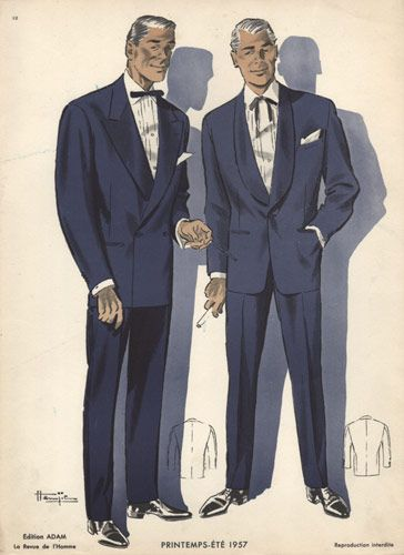 Dinner Jackets, Vintage 1950s Fashion Print