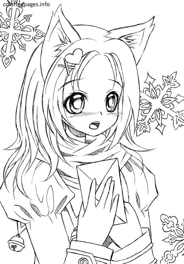 Anime Cat Girl Coloring Pages Mermaid Coloring Pages Cartoon Coloring Pages Cat Coloring Page