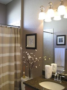 Small Guest Bathroom Before All Of The Walls Were A Bland Antique White Color I Chose Tan And Cream Shower Curtain To Keep Room Light