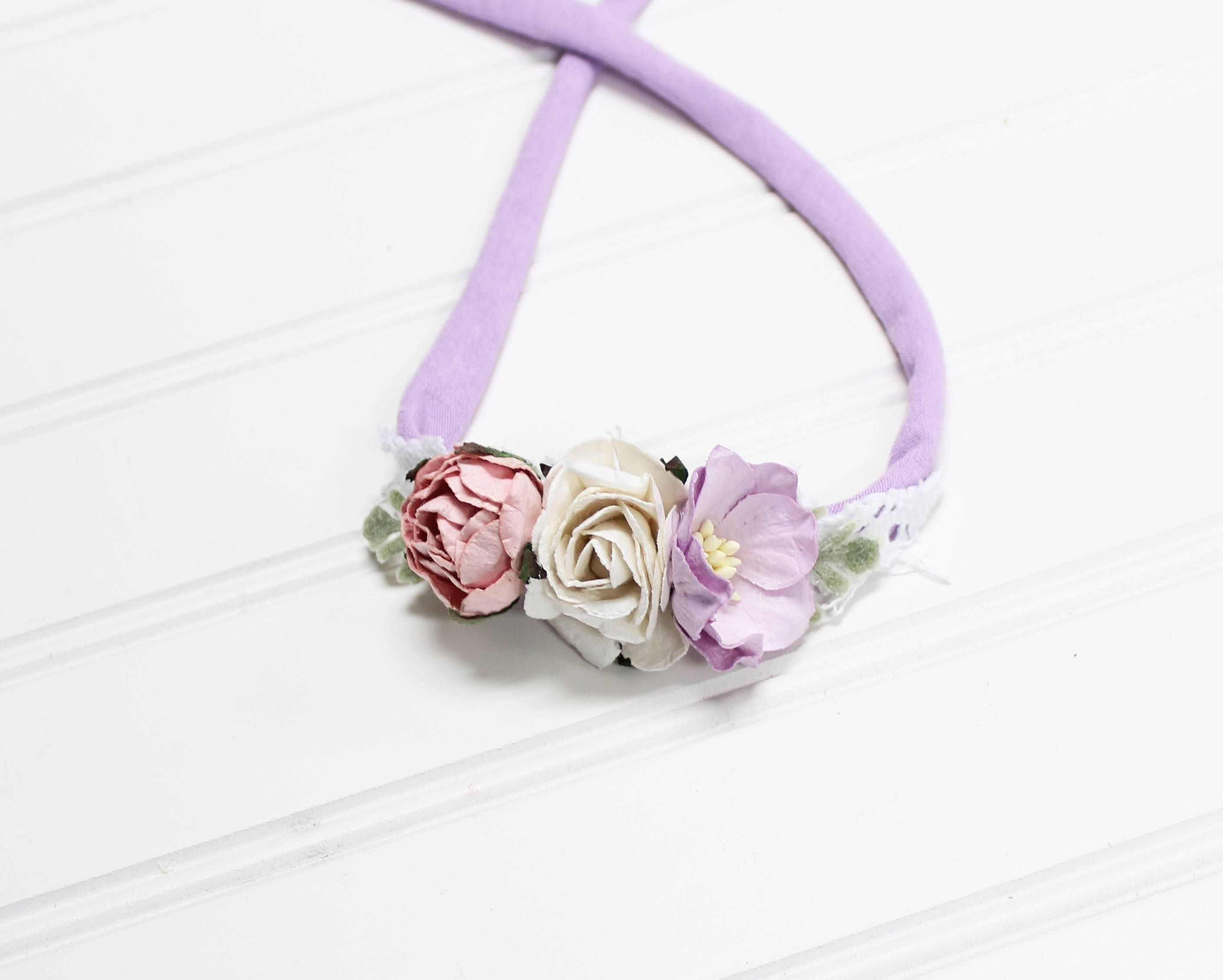 Penelope Beautiful Dainty And Simple Flower Headband In Lavender