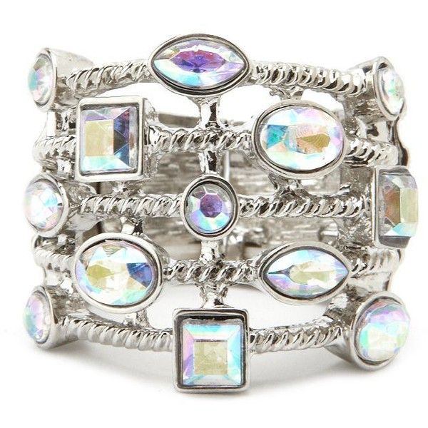 Caged Rhinestone Stretch Ring ($6) ❤ liked on Polyvore