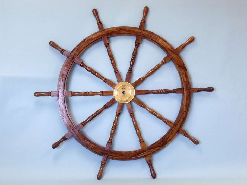 Classic Wooden Ship Wheel With Brass Cap Nautical Home Wall Decor Brass Decor Wheel Decor Wooden Ship
