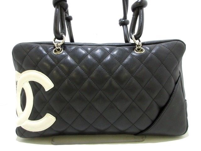 2ab48aa03051 Auth CHANEL Cambon Line Black White Lambskin Shoulder Bag  bags  coolbags