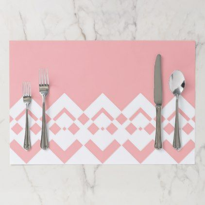 Abstract Geometric Pattern  Pink And White Paper Placemat
