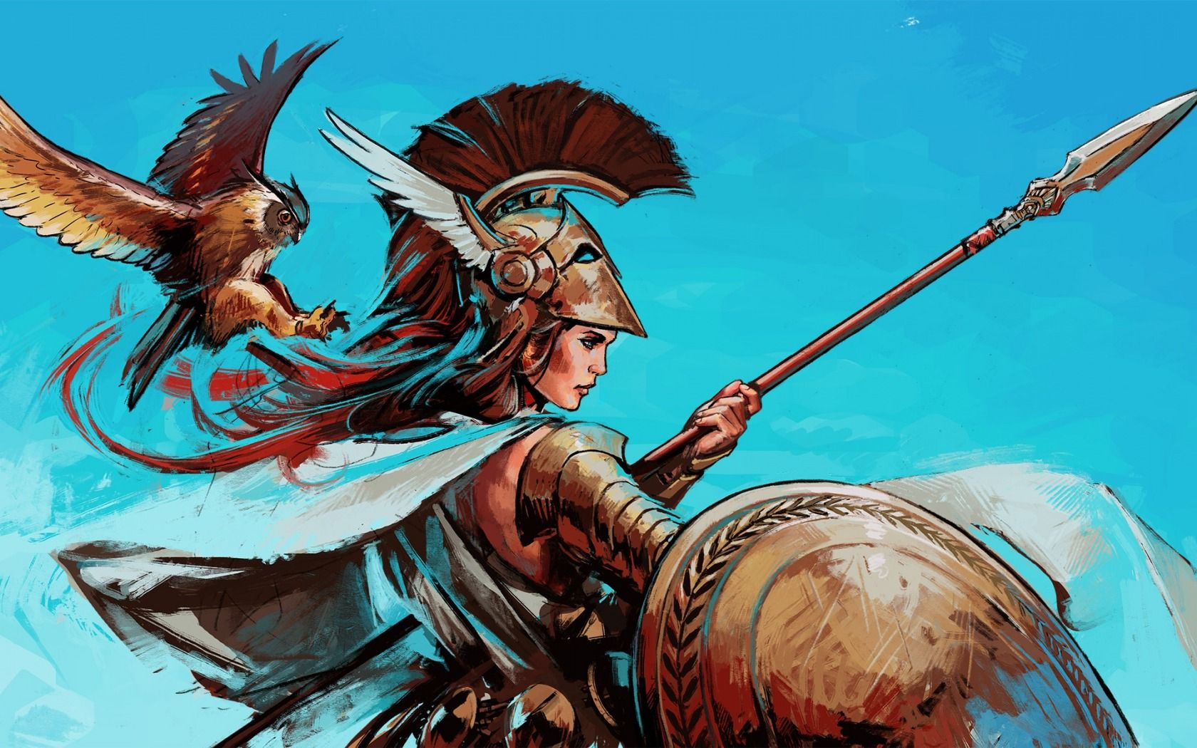 Download wallpaper spear, shield, bird, greek mythology, goddess