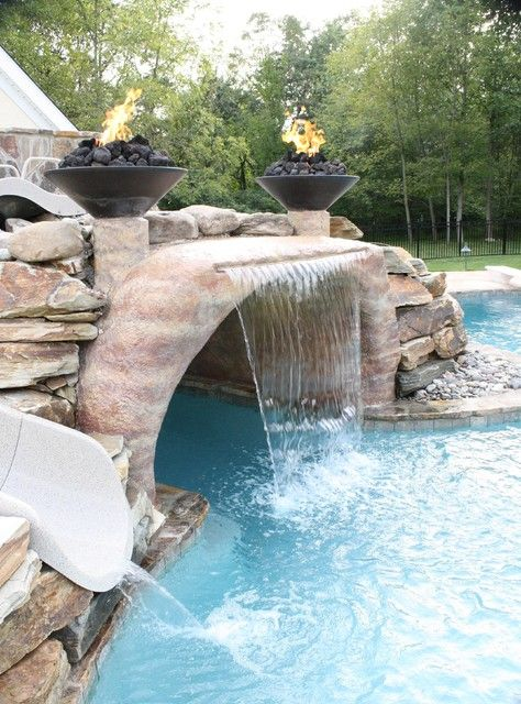 Pool Waterfall Ideas Luxurious Mediterranean Stone Wall Pool With Patio Furniture With Outdoor Fireplace With Stone Fireplace And Stone Pool Trim Outdoor C Pool Waterfall Backyard Pool Backyard Pool Landscaping