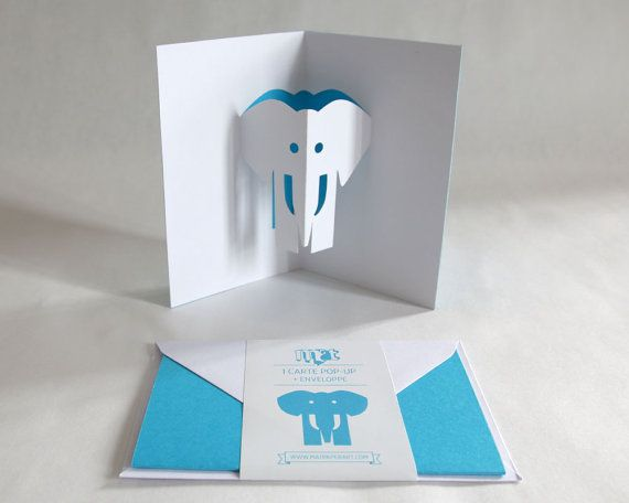 Pop Up Card Elephant Sky Blue Creative Stationery Etsy In 2021 Pop Up Greeting Cards Pop Up Cards Cards