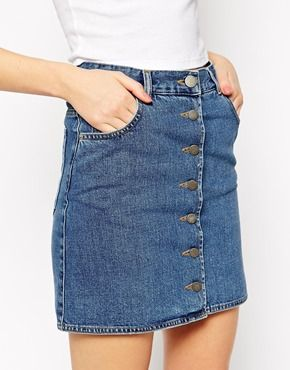 Enlarge ASOS Dolly Denim A-line Button Through Mini Skirt in Mid ...