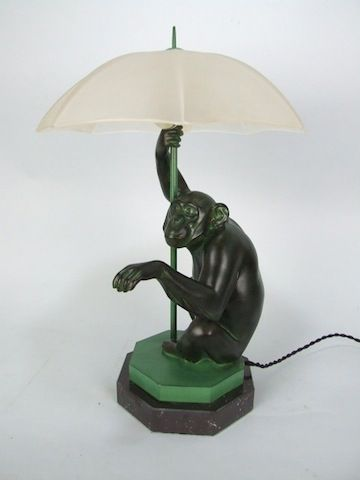 Art Deco Monkey Lamp Pied A Terre Art Deco Lighting