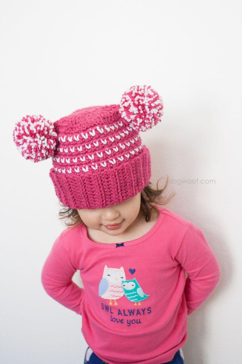 Lolly-Poms Sweetheart Crochet Beanie   Kindermütze, Bommel und Handschuh