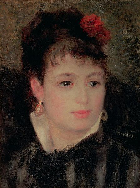 Pierre Auguste Renoir (1841-1919) - Woman with rose in her hairr - 1876 - Private Collection