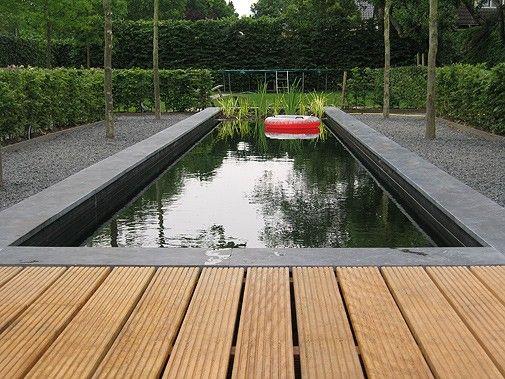 Rechthoekige vijver in landelijke tuin   Rectangle pond in country garden  u2665 Fonteyn   Trends