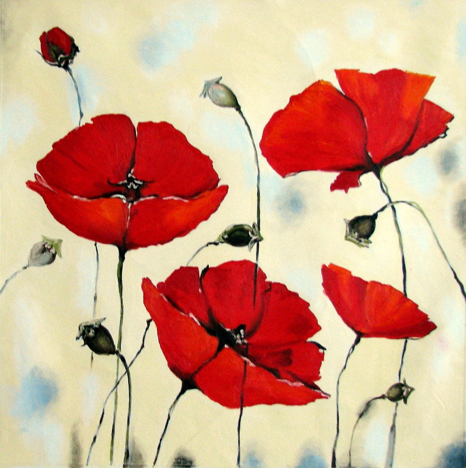 Oil - Acrylic painting Red poppies Flower Impasto Painting - mixed media - Huge 37 x 37 - XXL - Certificated. $195.00, via Etsy.