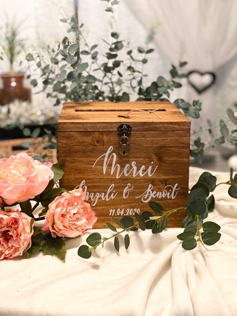 Urne en bois boîte mariage avec fente sur le dessus texte   Etsy