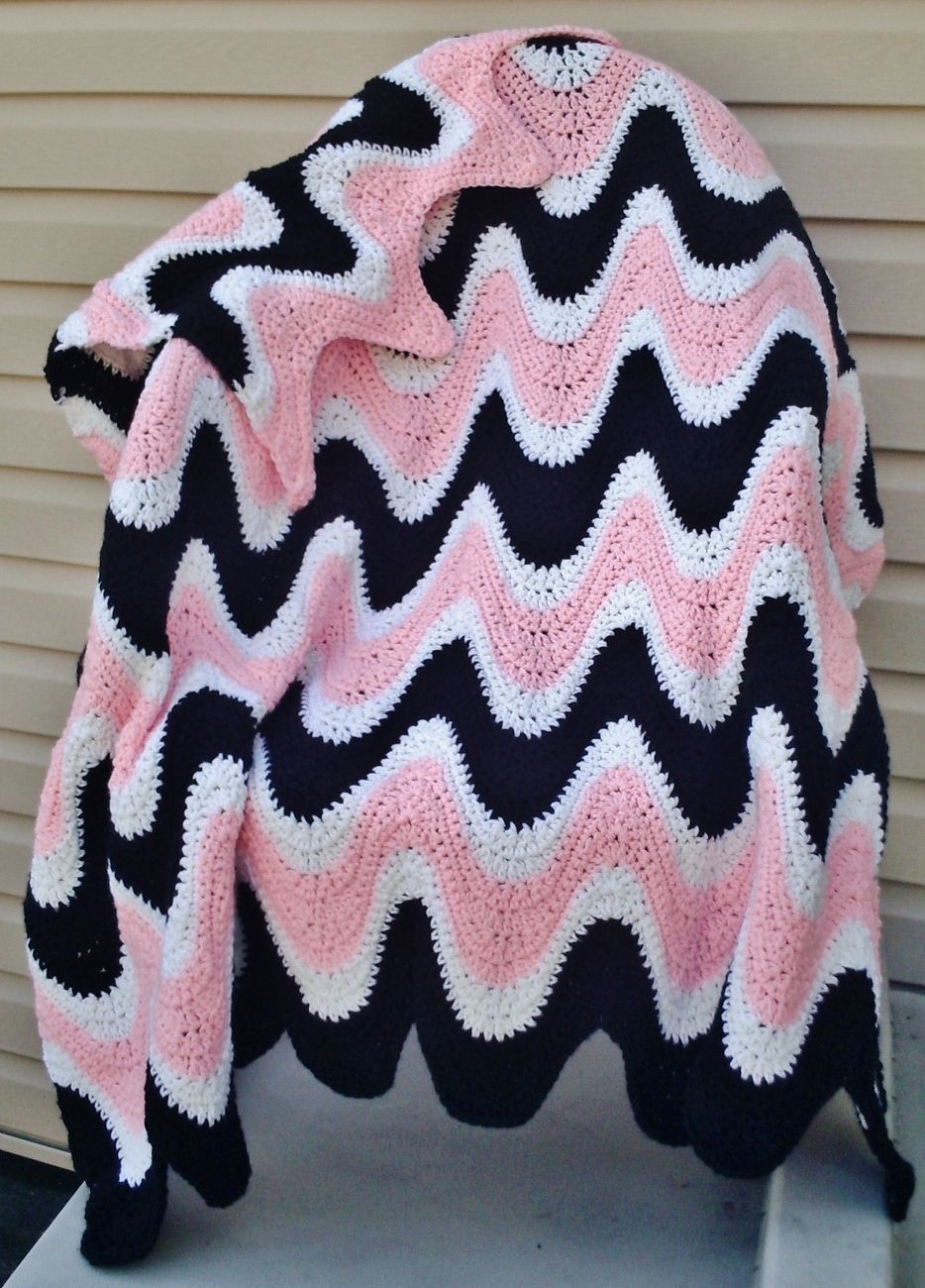 Crochet Pattern for 3 Color Exaggerated Ripple Afghan / Throw; PDF ...