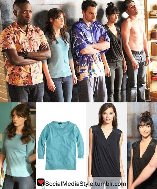 """Buy Zooey Deschanel's Blue Sweater and Hannah Simone's Black Faux Leather Shoulder Wrap Shirt from """"New Girl"""", here!"""