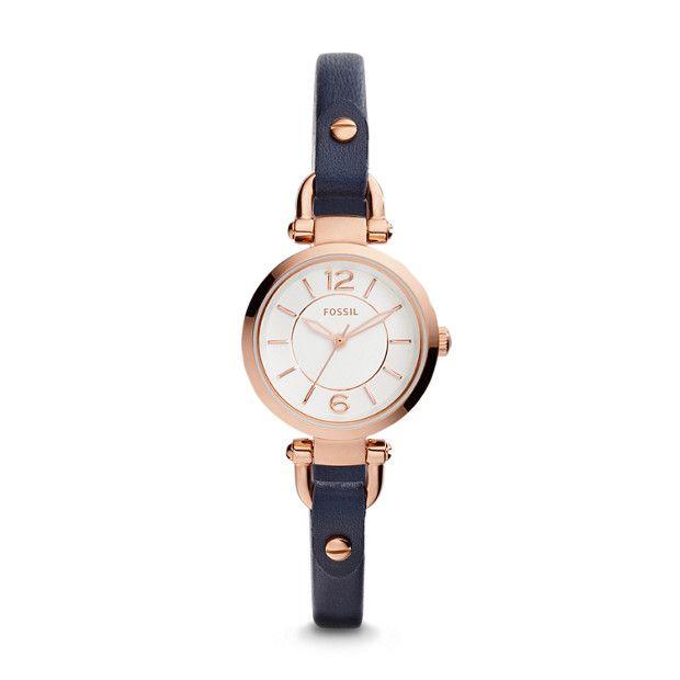 Georgia Mini Three-Hand Indigo-Dyed Leather Watch