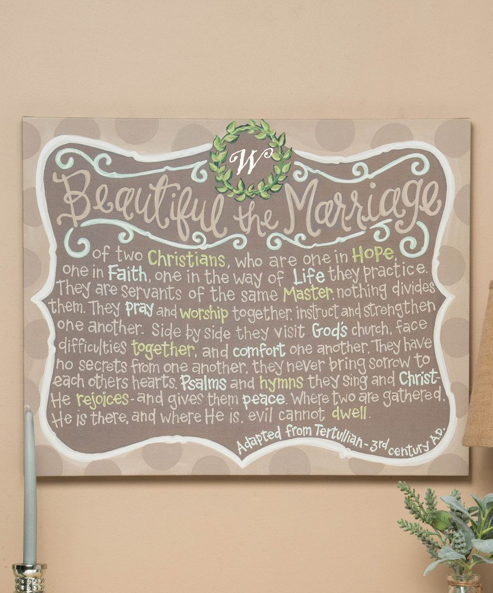 Wedding tray decoration ideas  Look at this zulilyfind uBeautiful the Marriageu Initial Canvas by