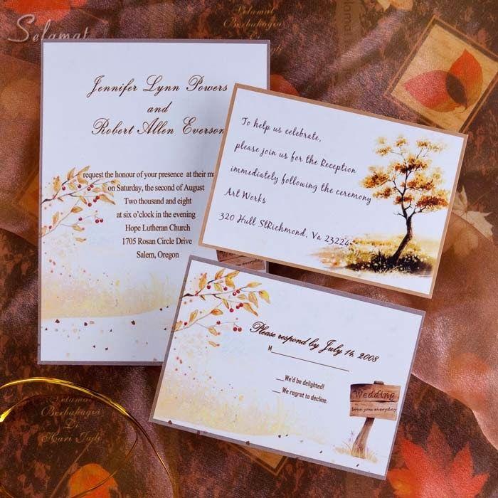 Autumn Wedding Invitation. http://memorablewedding.blogspot.com/2014/01/4-fabulous-autumn-wedding-ideas.html