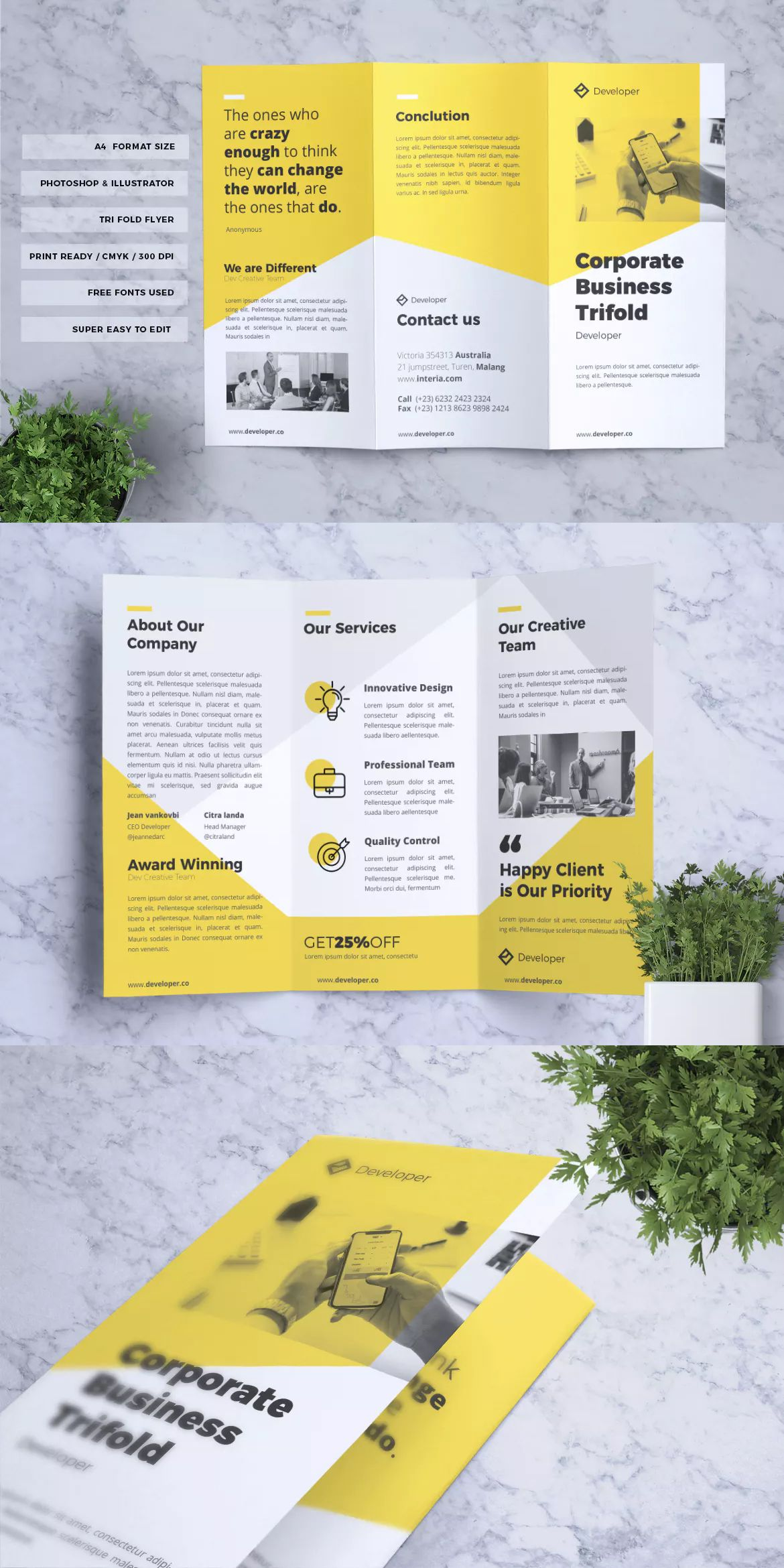 Corporate Business Flyer Template AI, EPS, PSD - A4 format paper size. Download