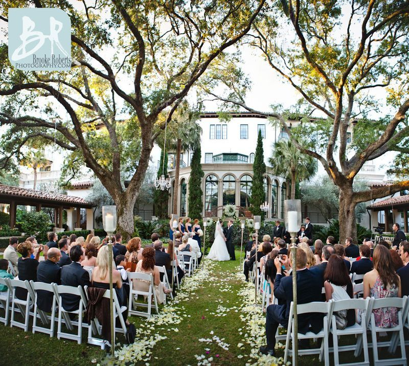 Outdoor Wedding Ceremony Des Moines: Cloister_Garden_Wedding_Ceremony_with_Candeliers_South
