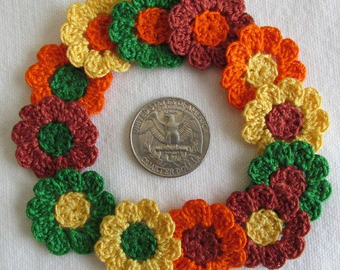 Tiny Crochet Flowers Fall Colors 12 Small Handmade Appliques