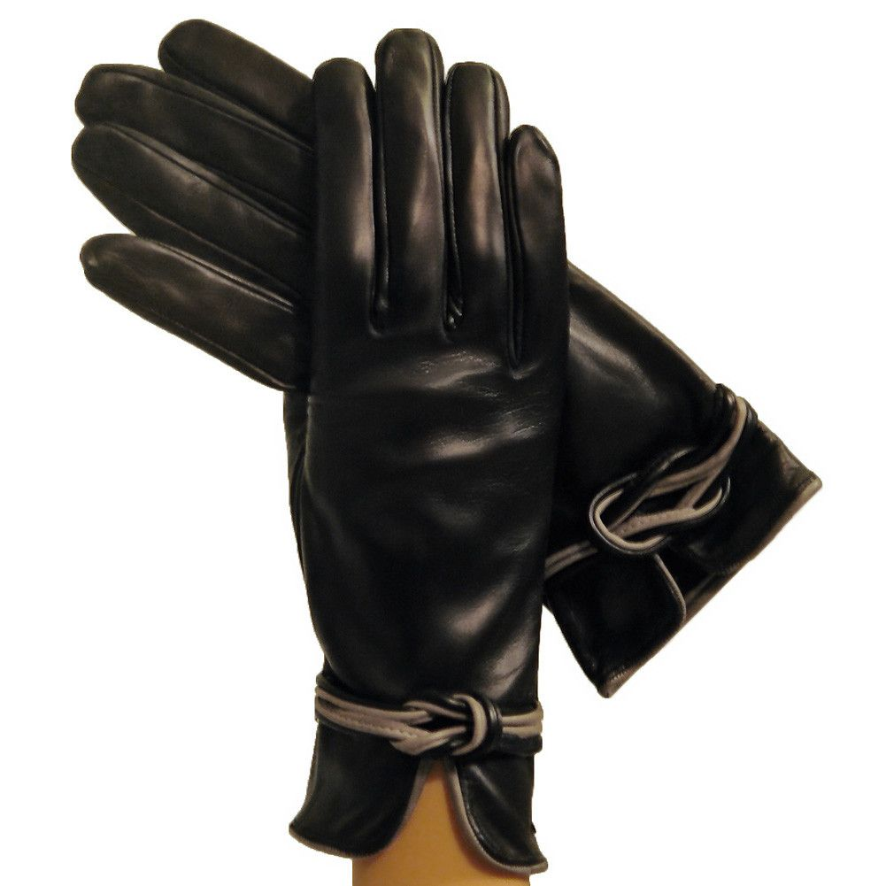 Womens leather gloves burgundy - Black Gray Refined Womens Silk Lined Italian Leather Gloves With Knot