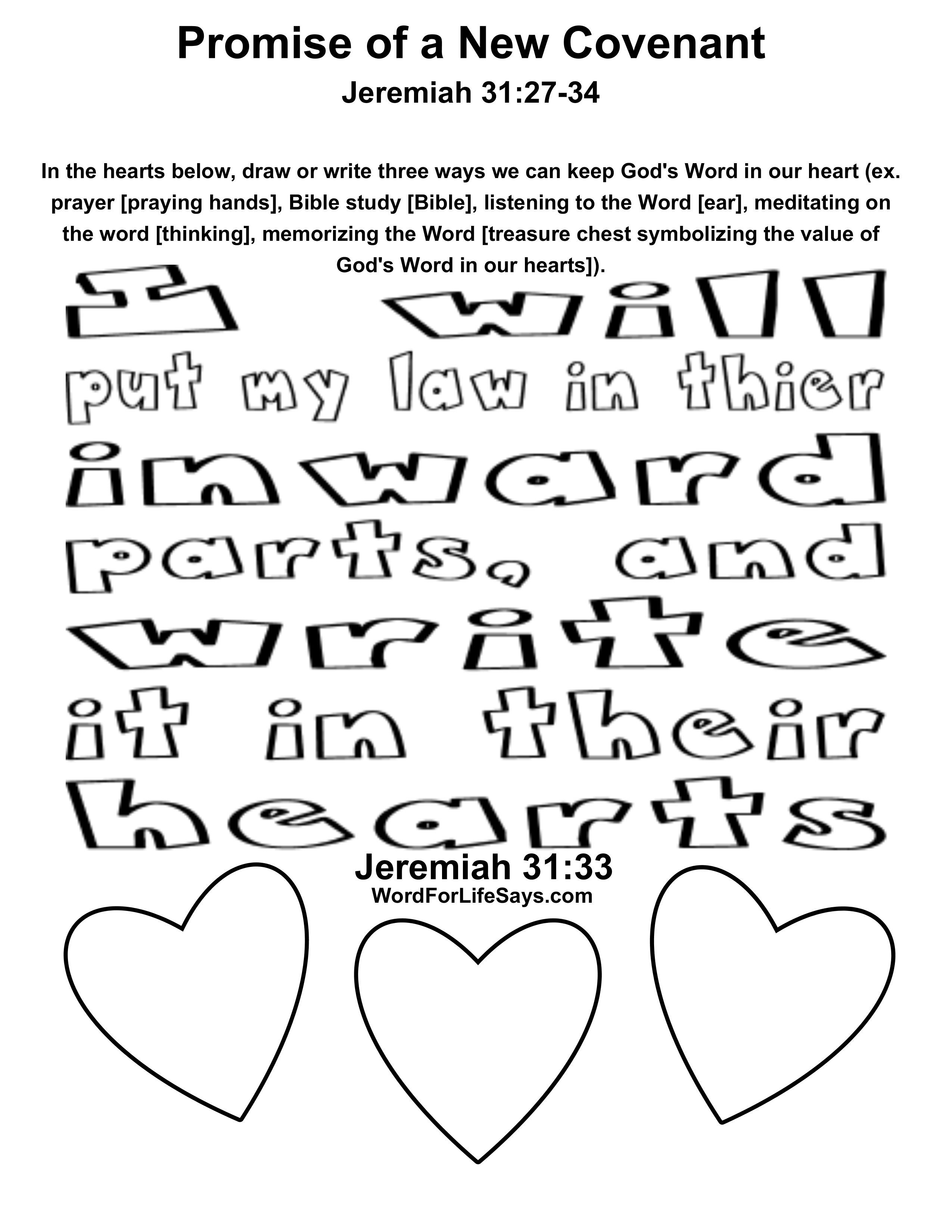 Promise Of A New Covenant Activity Sheet 001