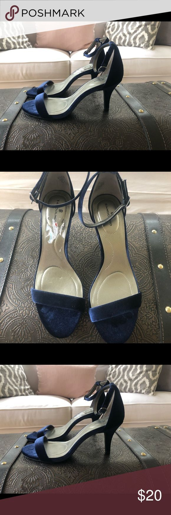 Bandolier navy blue velvet strappy heels Perfect prom or homecoming shoes.  Only...,  Bandolier navy blue velvet strappy heels Perfect prom or homecoming shoes.  Only...,