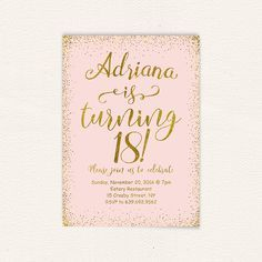 18th Birthday Pink And Gold Party Invitation Printable 18 Years Oldhappy 27 In 2018