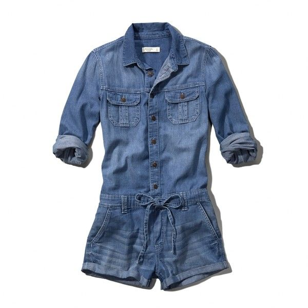 033e118b3fea Abercrombie   Fitch Denim Jumpsuit ( 53) ❤ liked on Polyvore featuring  jumpsuits