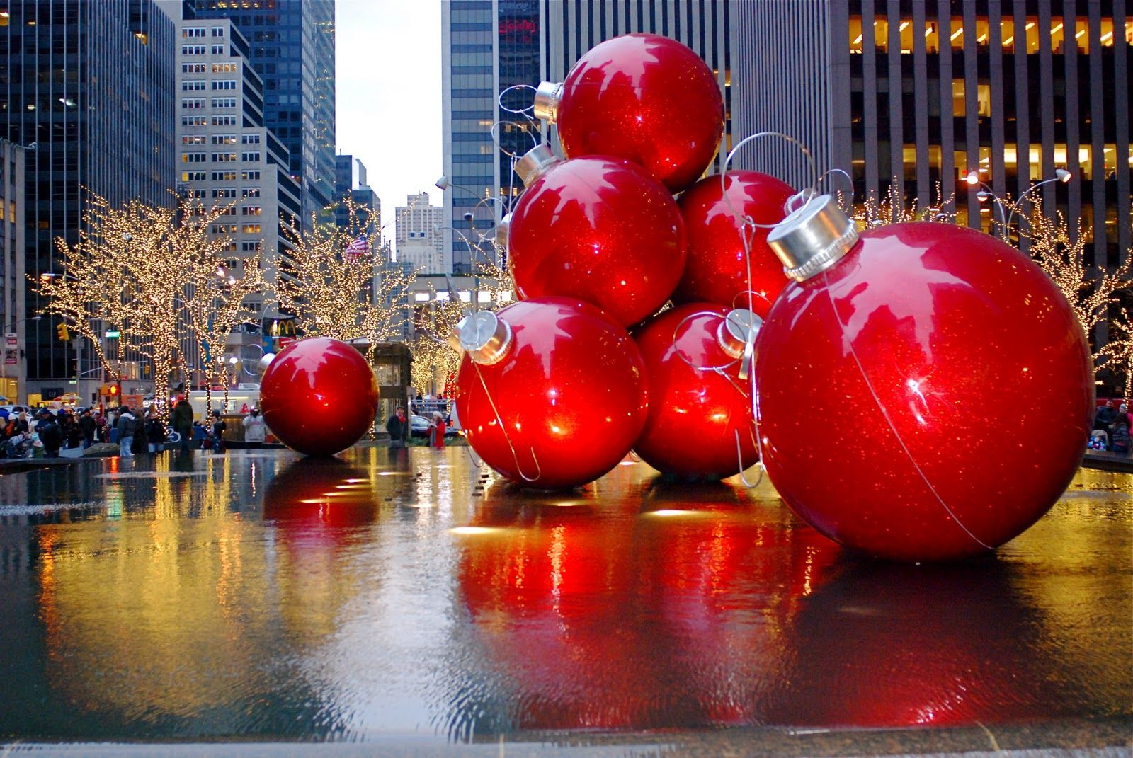 Christmas Holiday Decorations on Sixth Avenue Nyc