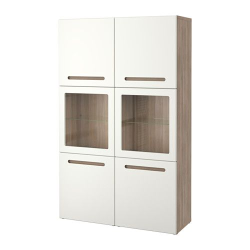 $550  BESTÅ Storage combination w/glass doors - walnut effect light gray/Marviken white clear glass - IKEA