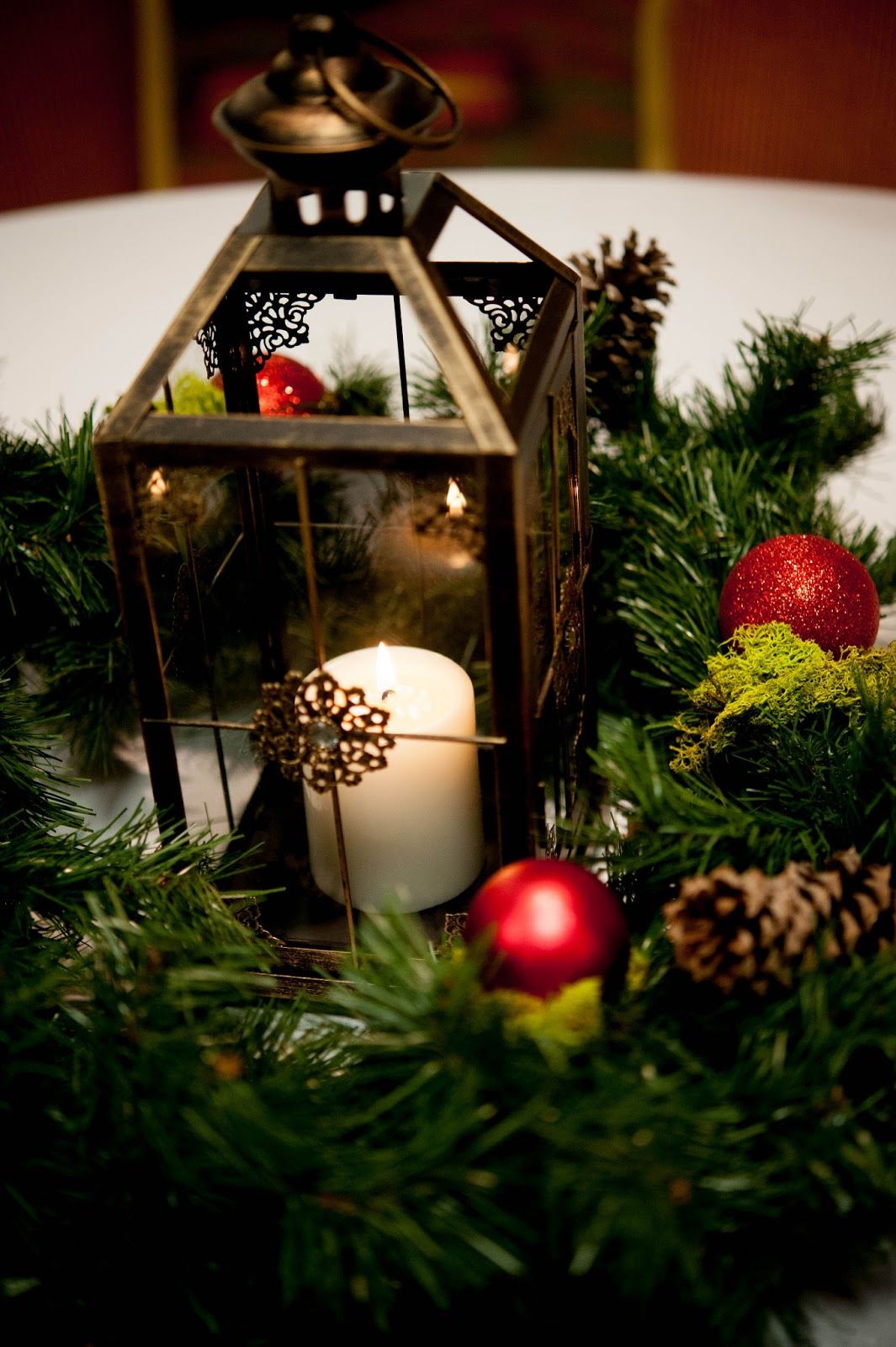 Christmas Wedding Lantern Candle Ornaments Greenery Centerpieces Lanterns