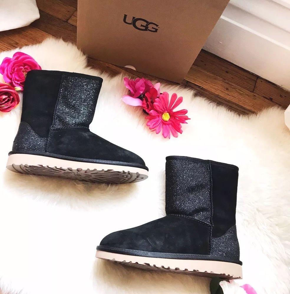8bb06cbbd86 Ugg Boots Girls Classic Short Black Glitter Size 6 New in Box ...