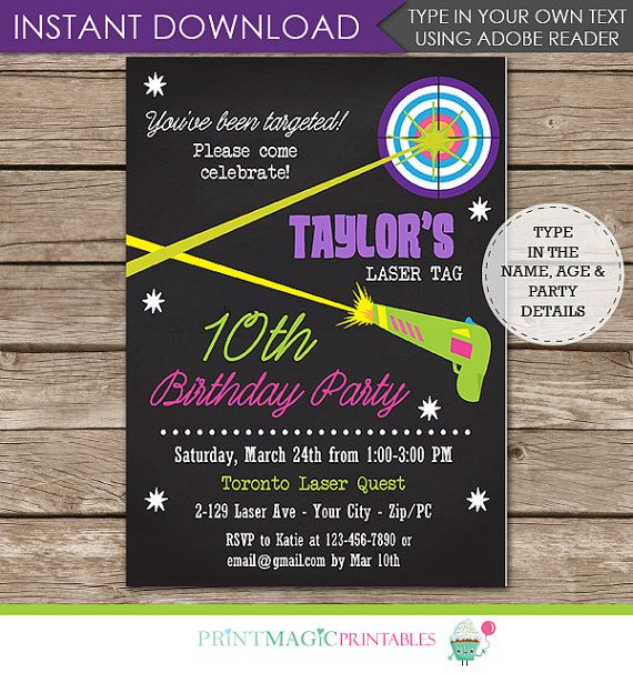 Laser Tag Party Invitation Laser Tag Birthday Party By Printmagic
