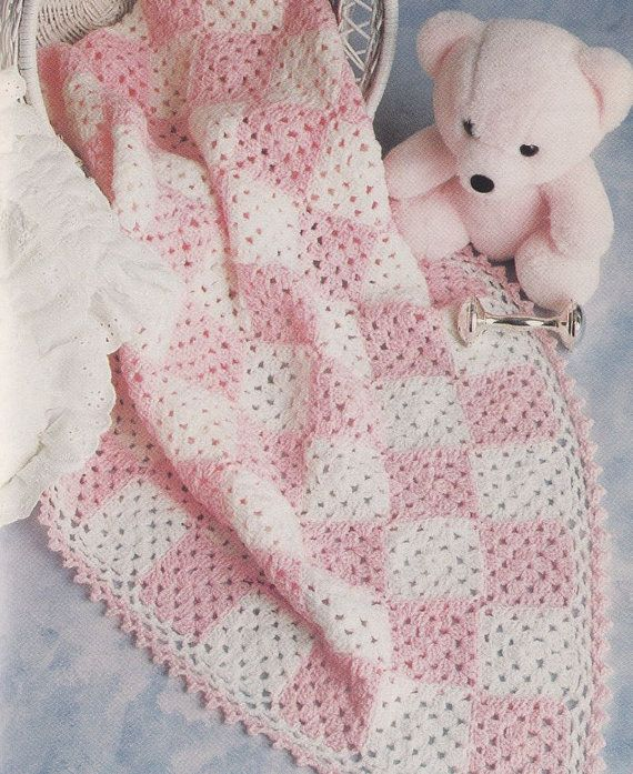 Checkerboard Baby Afghan Crochet Pattern Cute Coverlet Baby