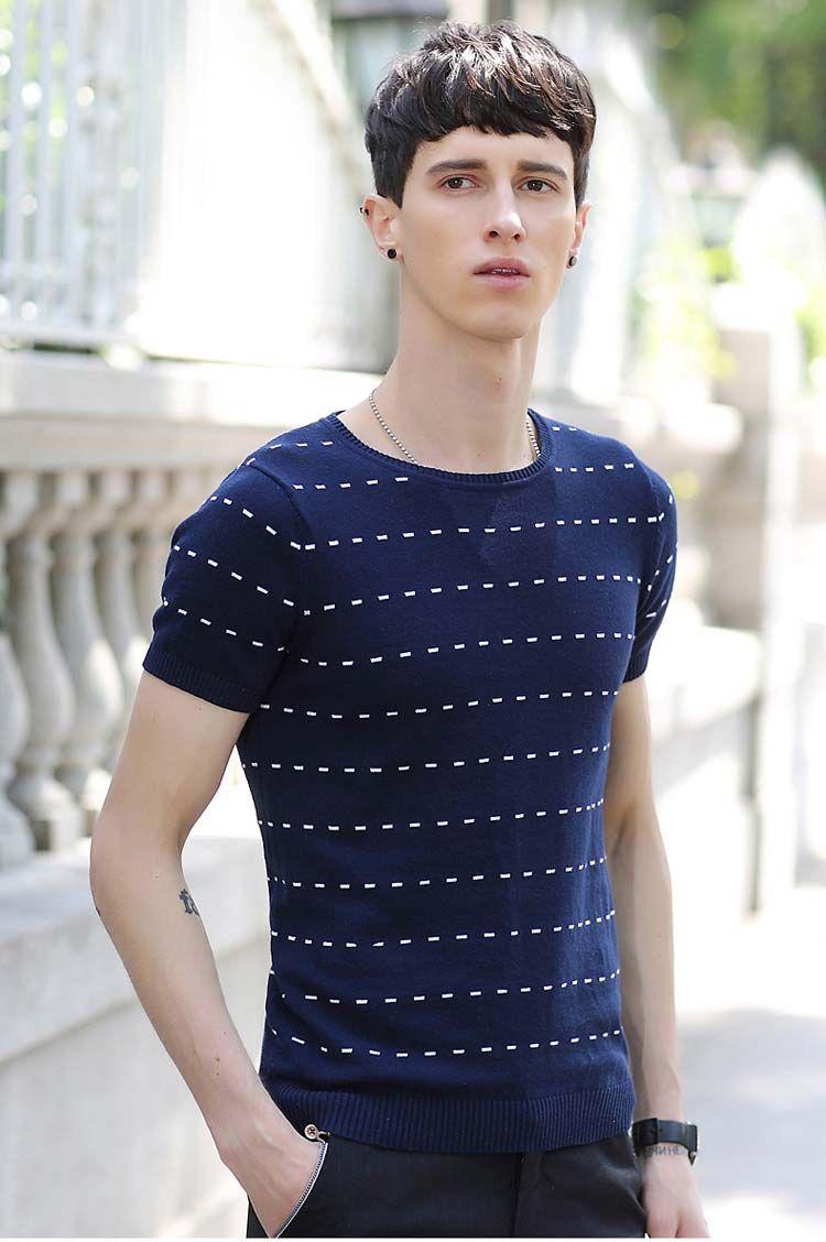 Navy stripe dot pattern short sleeve sweater