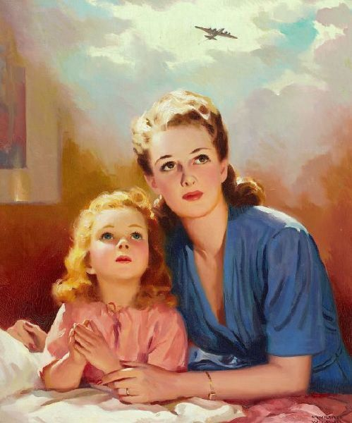 """Young Girl Praying With Her Mother,"" by Wilbur Lawrence ~ WWII era illustration depicting a mother and daughter praying for their family soldier, ca. 1940s."