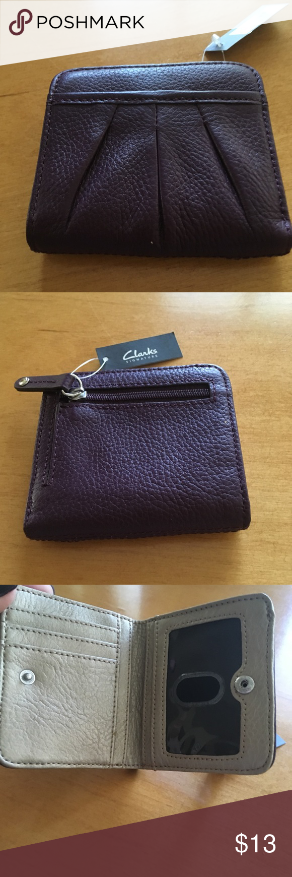 fa61bf3b9bc Clark's wallet NWT Clark's genuine leather purple wallet. Clarks Bags  Wallets