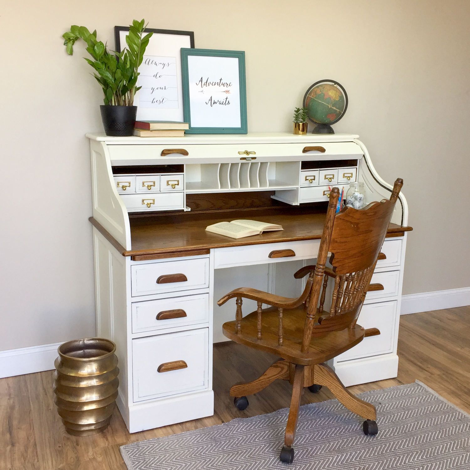 Vintage Roll Top Desk Solid Wood Desk Country Cottage
